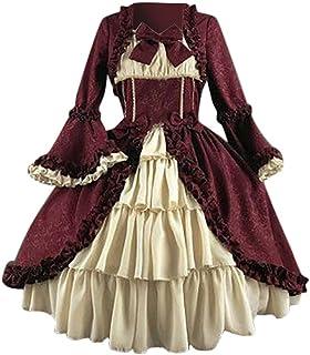 Women Medieval Dress, NDGDA Ladies Gothic Vintage Cosplay Court Square Collar Patchwork Bow Waist Stitching Dress