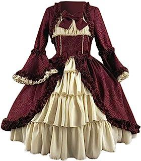 Zylione Damen Lolita Kleid Partykleid Vintage Mittelalter Kleider Adels Prinzessin Kleid Cosplay Kostüm Langarm Gothic Palast Partykleid Spitze Patchwork Renaissance Abendkleid mit Bowknot