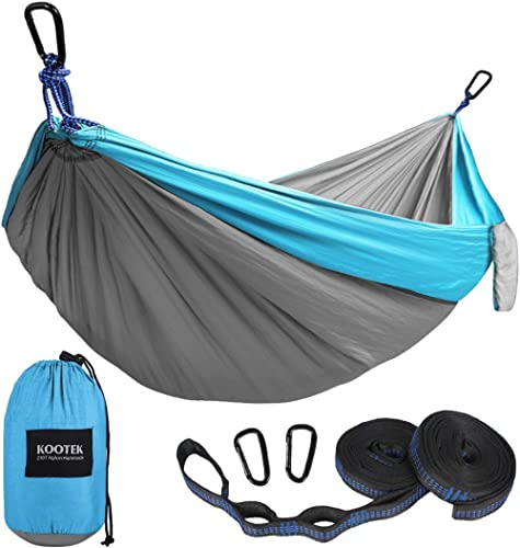 Kootek Camping Hammock Double & Single Portable Hammocks with 2 Tree Straps, Lightweight Nylon Parachute Hammocks for...