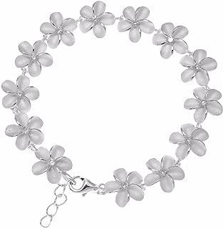925 sterling silver Hawaiian plumeria flower link bracelet cz 10mm 7.5