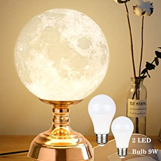 ZgmdaHOME 8.9 Inch Moon Lamp, 3D Printed Moon Night Table Lamp, Moon Nightstand Lamp with 9W LED Bulb(1 Yellow Bulb and 1 White Bulb)