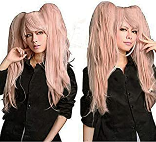 Anogol Hair Cap + Ponytail Wig Pink Cosplay Wig Lolita Wig for Cosplay