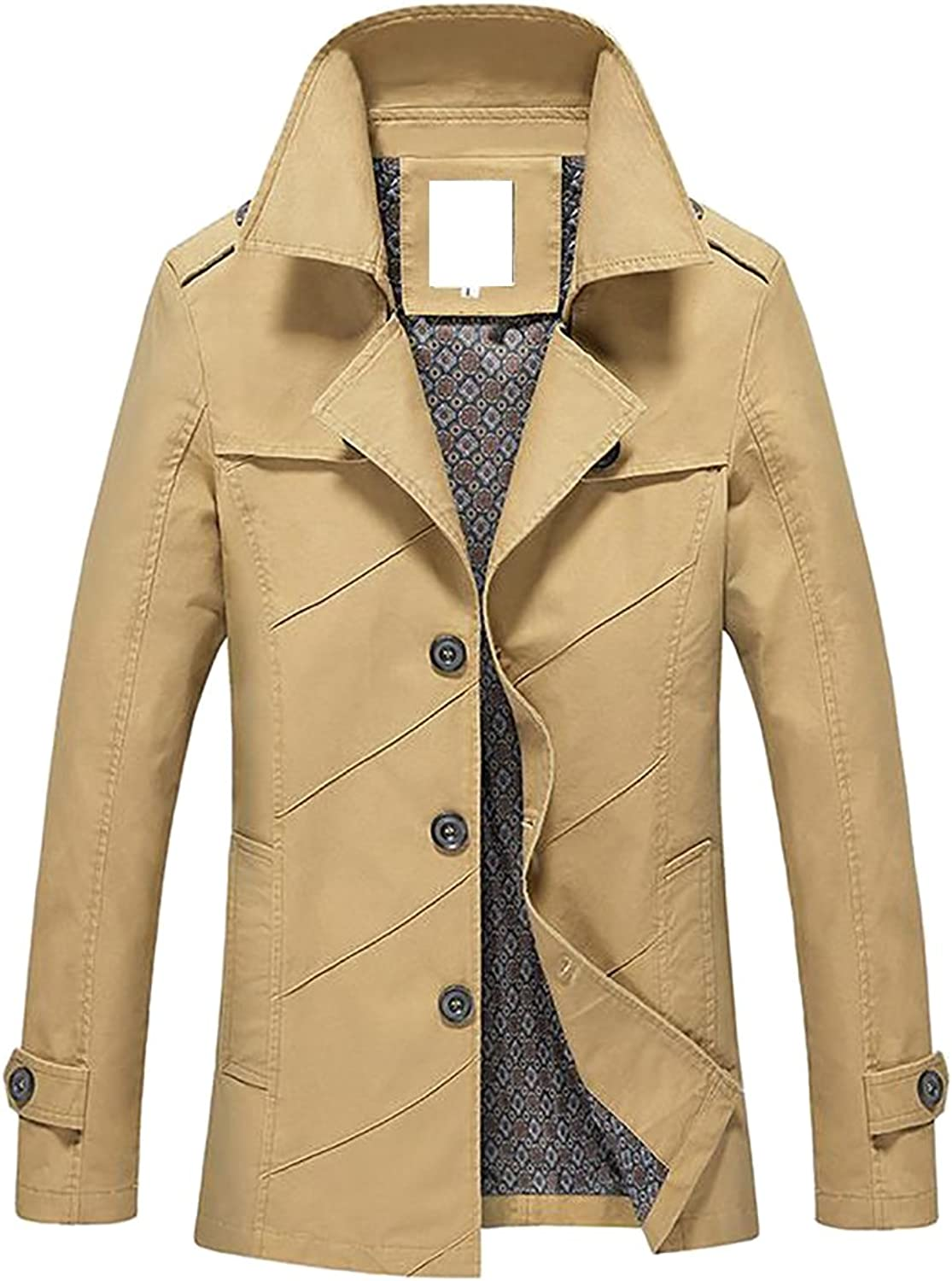 Cruiize Men's Slim Fit Notched Lapel Single Breasted Trench Coat Outwear