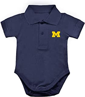 Two Feet Ahead Michigan Wolverines NCAA College Newborn Infant Baby Polo Creeper
