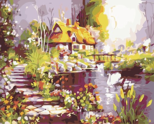 [New Release] DIY oil painting by Numbers, Paint by number Kits – Dream House 40,6 x 50,8 cm – Digital oil painting canvas Wall Art Artwork Landscape Paintings for home Living Room Office Christmas Decor Decorations Gifts – DIY Paint by Numbers DIY canvas kit for Adults Advanced Children Seniors Junior – New Arrival – no. D138 Without Frame