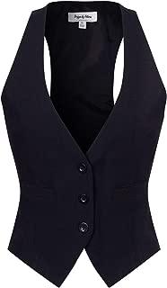 Women's Dressy Casual Versatile Racerback Vest Three Button Tuxedo Suit Waistcoat