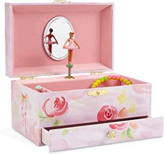 (Ballerina Pink with Roses) - JewelKeeper Girl's Musical Jewellery Storage Box with Pullout Drawer, Ballerina and Roses Design, Swan Lake Tune