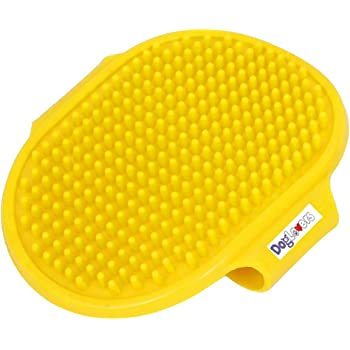 DOG LOVERS Rubber Oval Pet Cleaning Massaging Grooming Glove Brush (Multicolour)