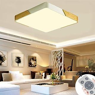 BFYLIN 72W Regulable LED Lámpara Moderna Del Techo Lámpara De Techo Pasillo Salón Dormitorio De La Lámpara Ahorro De Cocina Ahorro De Energía Luz (Madera Blanco-60W Cuadrado)