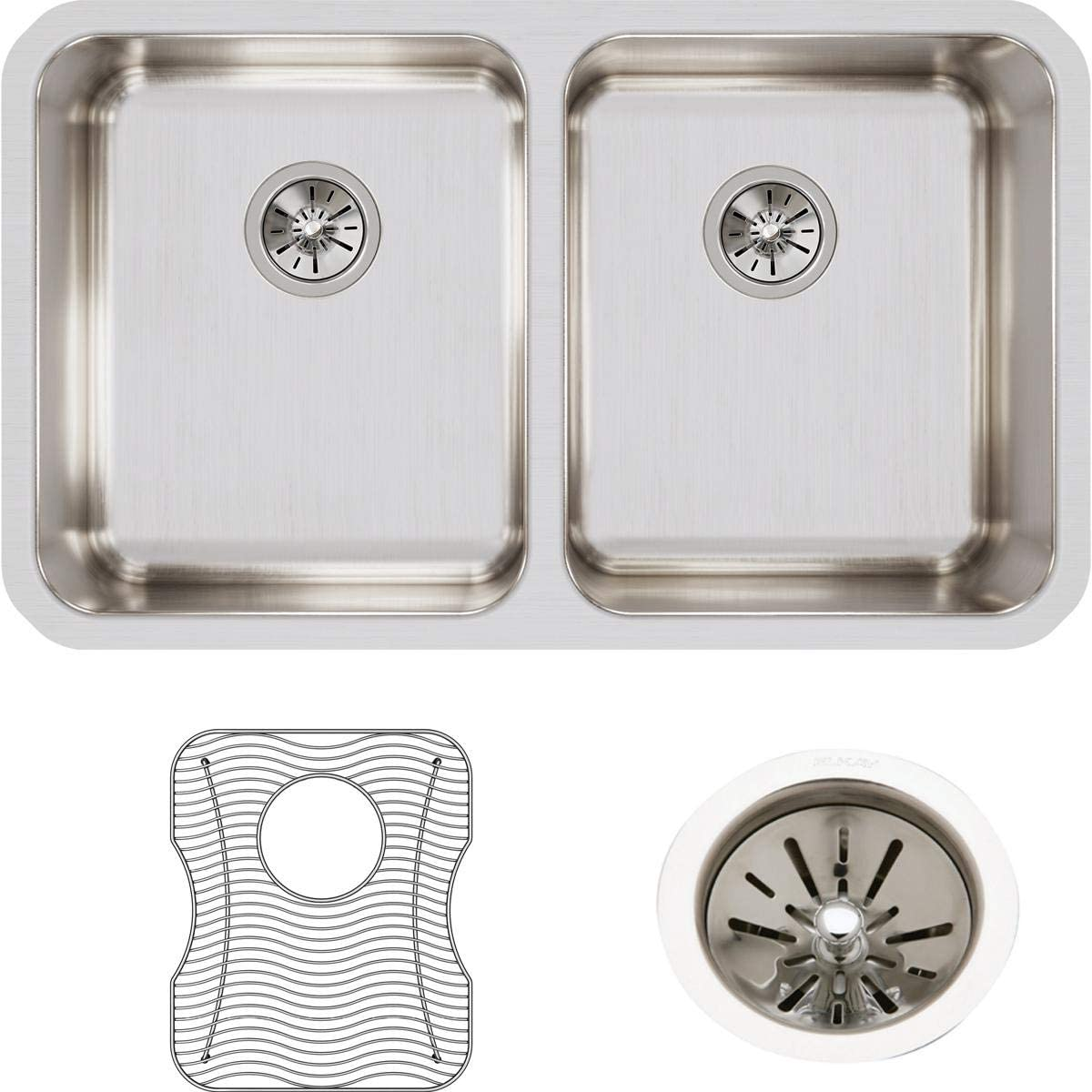 Elkay Lustertone mart ELUH3118DBG Equal Undermount Stainl Bowl Popular product Double