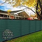 6' x 50' Heavy Duty Privacy Screen Fence, 90% Blockage Green Mesh Shade Net Cover with Brass Grommets for Garden, Yard, Wall, Backyard, Chain Link Fence - Includes 75 Zip Ties (6' x 50', Green)