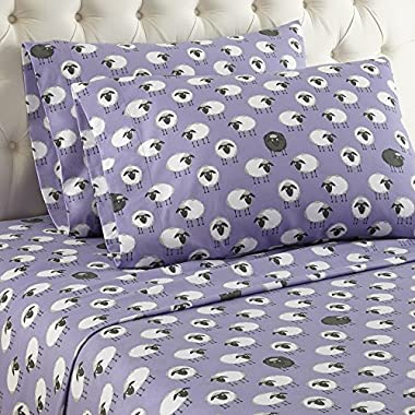 Thermee Micro Flannel Sheet Set, Queen, Counting Sheep/ Lavendar