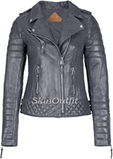 SKINOUTFIT Women's Leather Jackets Motorcycle Biker Genuine Lambskin M Gray