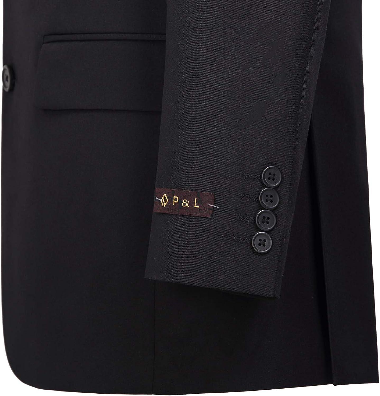 P&L Men's 2-Piece Classic Fit Single Breasted 2 Buttons Blazer & Trousers Suit