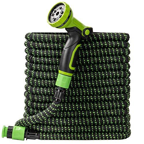 Furgle Flexibler Gartenschlauch 15M 50FT, Flexischlauch Gartenteich Schlauch Dehnbar Wasserschlauch flexibel, mit 3-Fach Latexkern 10 Funktionsspray, Schwarz-Grün