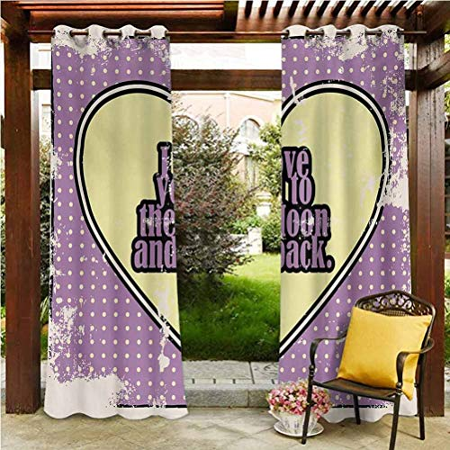 I Love You Extra Wide Curtains Outdoor Patio Scattering Shading Reflection Vintage I Love You to The Moon and Back Typography in Cartoon Grunge Pale Yellow Purple 96' W by 72' L(K245cm x G183cm)