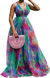 VERWIN Sleeveless Print V-Neck Floor-Length Expansion Women's Maxi Dress High Waist Dress