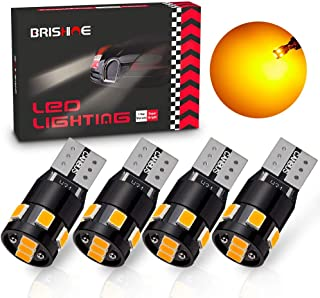 BRISHINE 300LM Extremely Bright Canbus Error Free 194 168 2825 192 W5W T10 LED Bulbs Amber Yellow 9-SMD 2835 LED Chipsets for Side Marker Turn Signal Blinker Map Door Parking Lights (Pack of 4)
