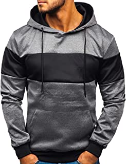 HEJANG Mens Fashion Casual Patchwork Slim Fit Drawstring Hoodie Hooded Long Sleeve Pullover Blouse Sweatshirt