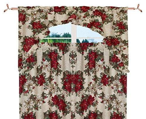 Violet Linen Decorative Christmas Printed Garden Design 3 Piece Kitchen Curtain Set
