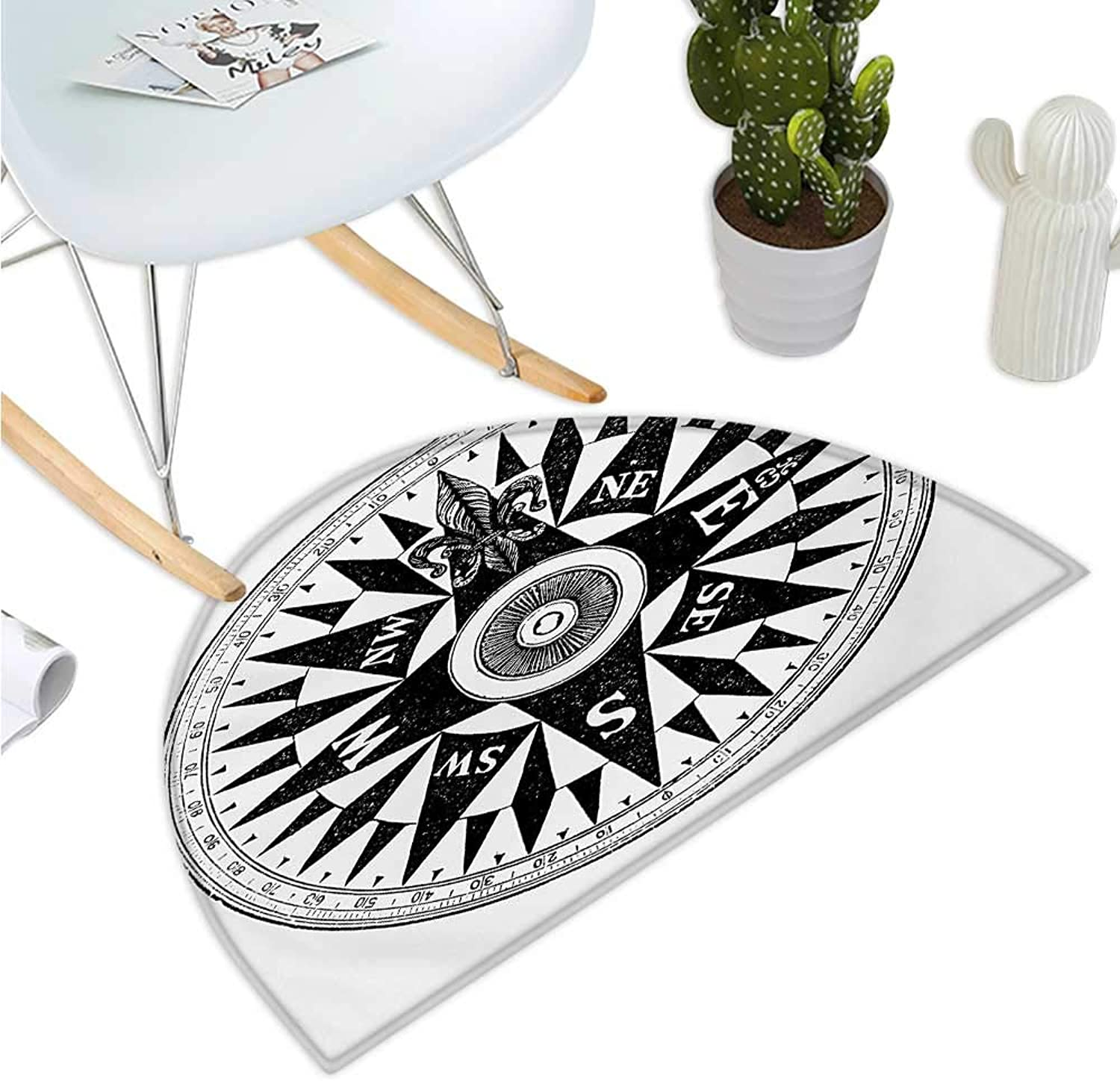 Compass Semicircle Doormat Vintage British Navy Compass in Black and White Discovery of The World Theme Entry Door Mat H 35.4  xD 53.1  Black White