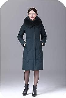 Women Duck Down Jacket Coat Long Ultralight Natural Feather Real Fox Fur Duck Down Parka #8926,DrakGreen,XXL