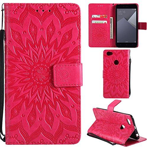 Ooboom® Xiaomi Redmi Note 5A Prime Hülle Sonnenblume Muster Flip PU Leder Schutzhülle Handy Tasche Hülle Cover Stand mit Kartenfach für Xiaomi Redmi Note 5A Prime - Rot