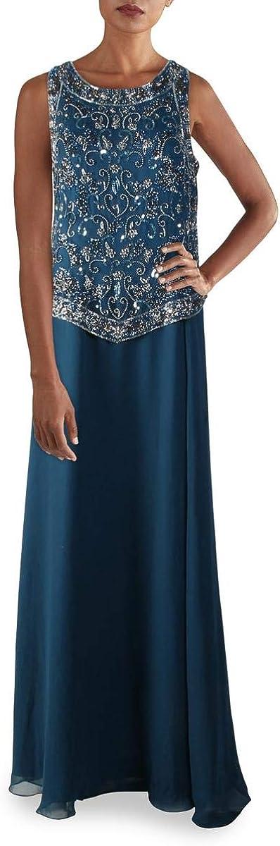 J Kara Women's Long Beaded V Trim Detail Dress with Scarf