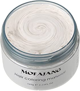 MOFAJANG Hair Color Wax, KooJoee Temporary Hair Dye Easy Wash Hairstyle Cream 4.23 oz Disposable Hair Pomades, Natural Matte Hair Modeling Wax for Party Cosplay Nightclub Masquerades Halloween (White)