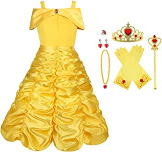 Disfraz de Princesa Elsa/Capa Disfraces/Belle Vestido y Accesorios para Niñas- Reino de Hielo - para Carnaval,Cosplay,Navidad,Fiesta de Cumpleaños - 5 Trajes Diferentes para Elegir