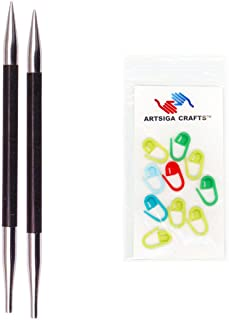 Knitter's Pride Knitting Needles Karbonz Interchangeable 3.5 inch (9cm) Short Tip Size US 3 (3.25mm) Bundle with 10 Artsiga Crafts Stitch Markers 110322