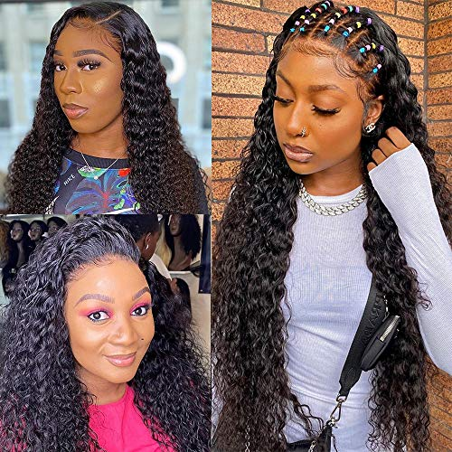 Lace Closure Wigs Human Hair Lace Front Wigs with Baby Hair Natural Hairline 150% Density Unprocessed Brazilian Virgin Deep Wave Human Hair Closure Wigs for Black Women Natural Black 30 Inch
