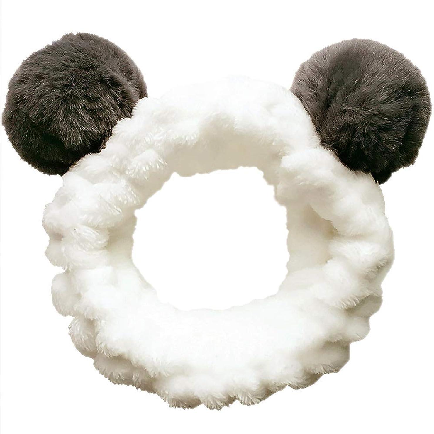 以来かもめ防衛ヘアバンド 洗顔 動物 パンダ型 柔らかい 吸水 ターバン レディース ヘアアレンジ 伸縮性あり アニマル ふわふわ