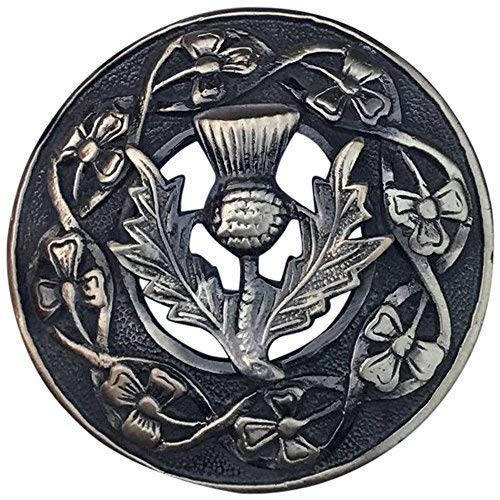 Herren Schottisch Kilt Fly Plaid Brosche Distel Wappen Verschiedene Ausführung 3