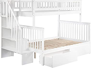 Atlantic Furniture Woodland Staircase Bunk Urban Bed Drawers, Twin/Full, White