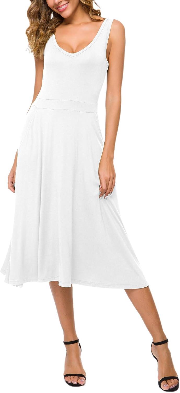Urban CoCo Women's Summer Casual Sleeveless Flared Midi Dress Swing T-Shirt Dresses with Pockets