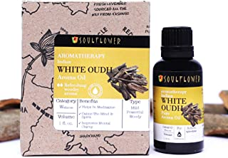 Soulflower Indian White Oudh Aroma Oil, 100% Alcohol Free,Extremely Rare & Exotic Natural Fragrance,Mystical,mythical&magical longlasting aroma stimulating the psyche,human body&consciousness, 1 Fl.Oz