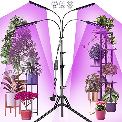 WRQ Grow Lights with Stand, Full Spectrum Four Heads 40W LED Floor Plant Light for Indoor Plants,Timing 4/8/12H,Tripod Adjustable 15-47 Inch