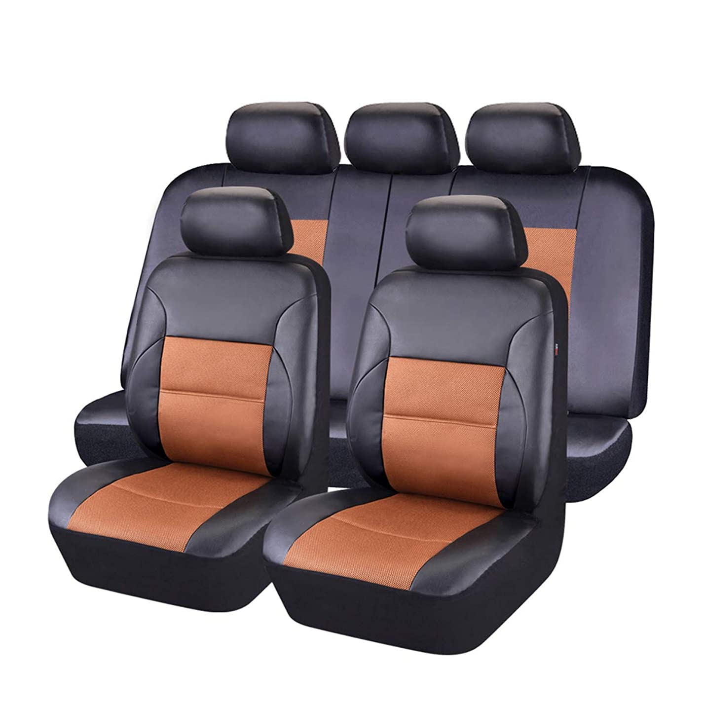 CAR PASS 11 Pieces Leather Universal Car Seat Covers Set - Black and Khaki ec39177608