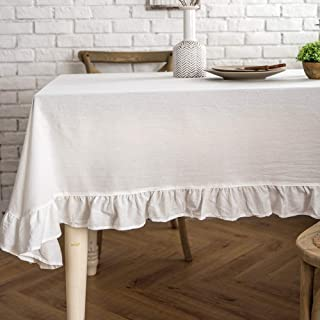 Lahome Rustic Flounces Tablecloth - Cotton Linen Washable Vintage Ruffle Trim Table Cover for Boho Wedding Banquet Tabletop Bridal Baby Shower Birthday Party Decor (White, Rectangle - 60