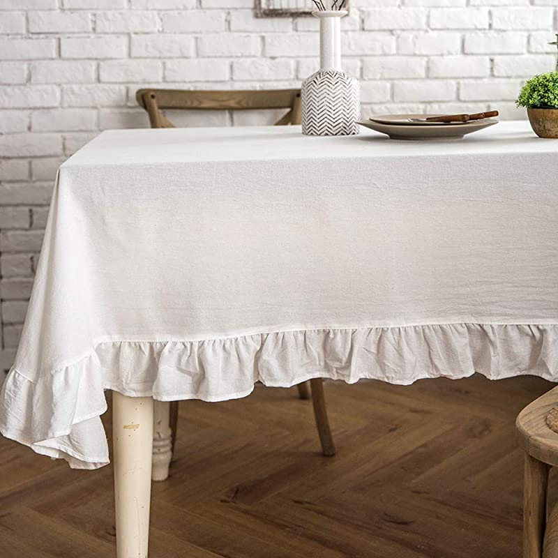 Lahome Rustic Flounces Tablecloth Cotton Linen Washable Vintage Ruffle Trim Table Cover For Boho Wedding Banquet Tabletop Bridal Baby Shower Birthday Party Decor White Round 60