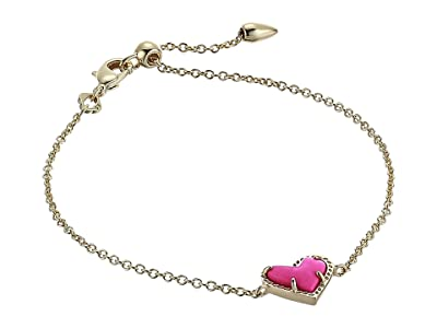 Kendra Scott Ari Heart Delicate Chain Bracelet (Gold Magenta Magnesite) Bracelet