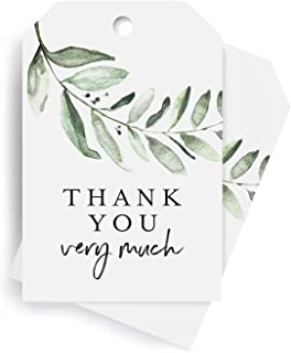 Bliss Collections Greenery Favor Thank You Tags — Perfect for: Wedding Favors, Baby Shower, Bridal Shower, Birthday or Special Event — 50 Pack