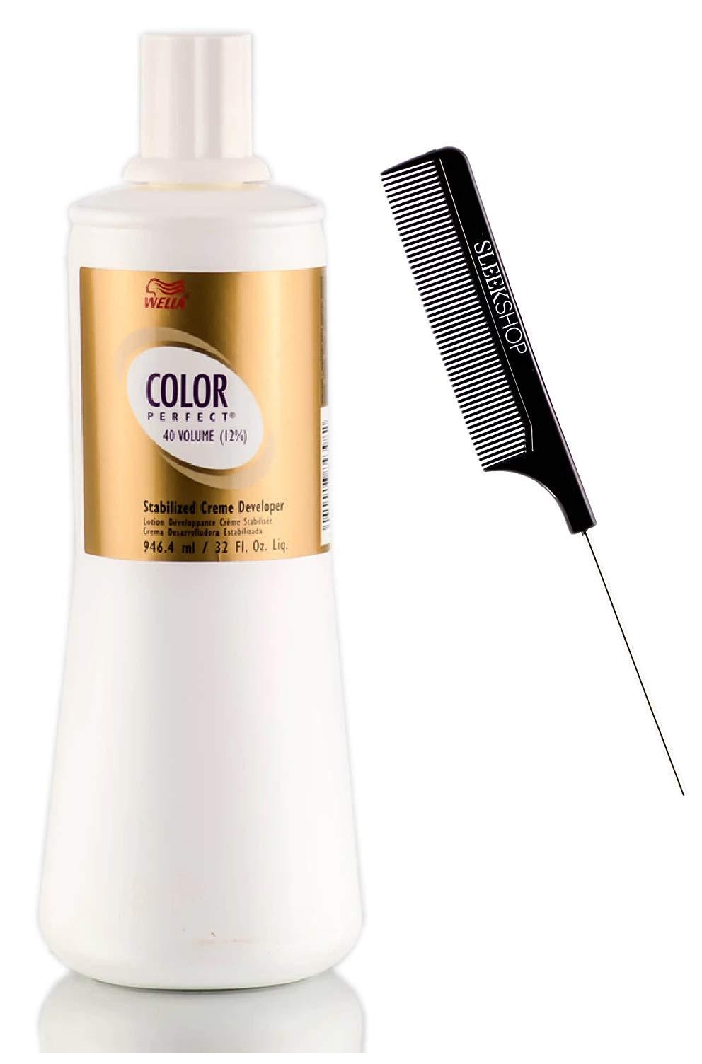 Color Perfect Stabilized Developer Activator for Permanent Creme Gel Haircolor Dye (w/Sleek Tint Brush) Hydrogen Peroxide Cream-Gel Hair Color (CREME - 40 Volume / 12% - 32 oz/liter)