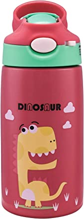 Kids Stainless Steel Thermos Straw Cups, Cute Dinosaur Water Bottle for School,Party,Picnic,Outdoor (Red)