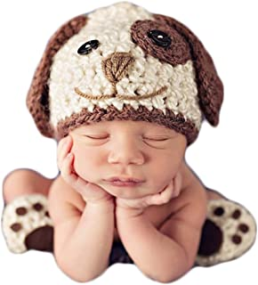 Baby Photography Props Newborn Photo Shoot Outfits Crochet Costume Infant Boy Girl Knitted Puppy Hats Shoes