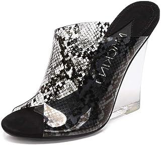 2e0fc33e62ea MACKIN J 405-8 Women s TPU Lucite Clear Wedge Heel Open Toe Platform Sandal  Slip