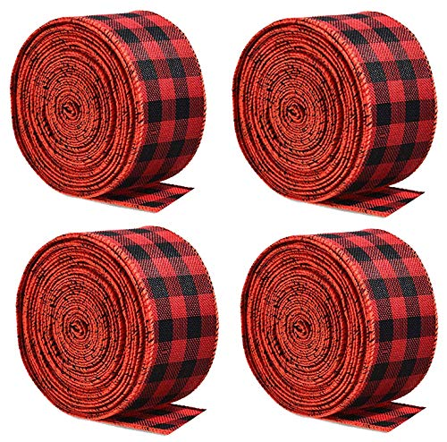 4 Strands Black Red Plaid Wired Edge Ribbons Xmas Plaid Ribbons for Christmas Crafts Floral Bows Craft Supplies (4, Black Red)