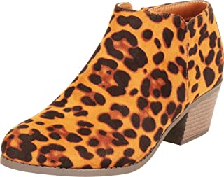 Cambridge Select Women's Classic Western Almond Toe Chunky Block Low Heel Shootie Ankle Bootie