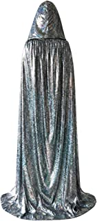 Unisex Full Length Halloween Hooded Cloak, Shiny Christmas Party Robe Cape Costume Silver